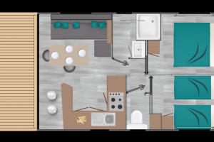Mobil-Home neuf LOUISIANE de la gamme VACANCES, MEDITERRANNEE GRAND AIR