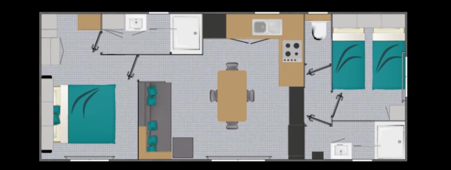 Mobil-Home neuf collection 2021,de la marque LOUISIANE, gamme  VACANCES, Cyclade 2S