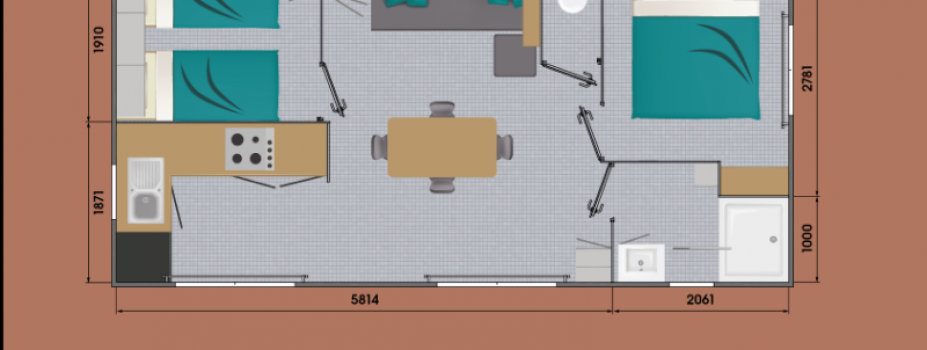 Mobil-Home neuf collection 2021,de la marque LOUISIANE, gamme  VACANCES, GRAND LARGE 2