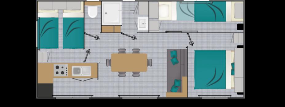 Mobil-Home neuf collection 2021,de la marque LOUISIANE, gamme  VACANCES, Grand large 3