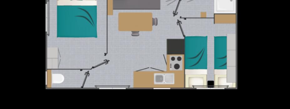 Mobil-Home neuf collection 2021,de la marque LOUISIANE,gamme  VACANCES, OCEANE