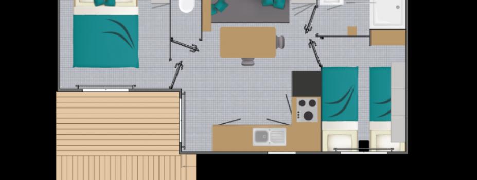 Mobil-Home neuf collection 2021de la marque LOUISIANE, gamme  VACANCES, PACIFIQUE 2